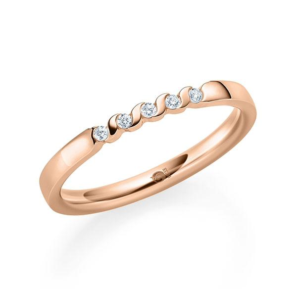 MIAMORE Memoirering 585/- 14ct Rotgold mit Diamanten 0,10ct Tw.si